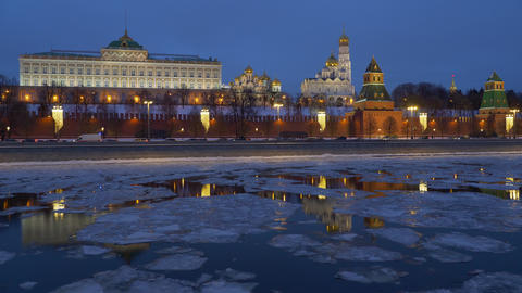 Russia, Moscow, night view on Kremlin and river with drifting ice on a winter Footage