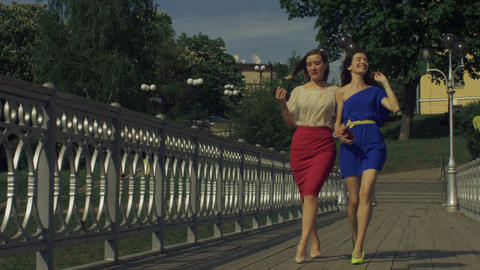 Gorgeous female friends enjoying leisure in the city Footage