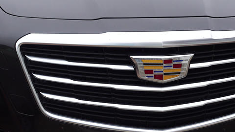 Cadillac grille and logo close-up Footage
