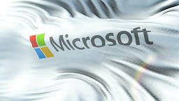 MICROSOFT flag waving on sun. Seamless loop with highly detailed fabric texture Animation