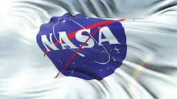 NASA flag waving on sun. Seamless loop with highly detailed fabric texture Animation