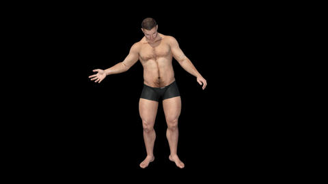 A Man Turns From Athlete Into An Fat, Viewing His Body, Alpha Channel Animation