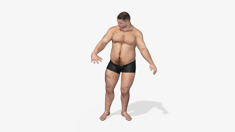 A Man Turns From Fat Into An Athlete, Viewing His Body, Alpha Channel Animation