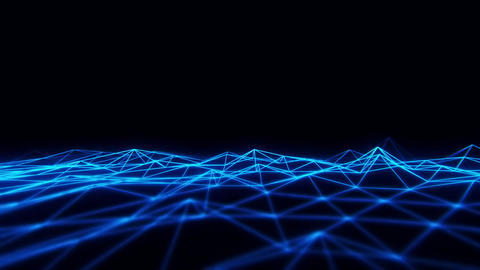 3D Blue Wireframe Grid Landscape Graphic Element Loopable Animation