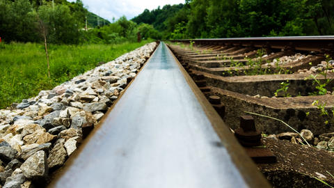 Railroad in the valley Close up Photo