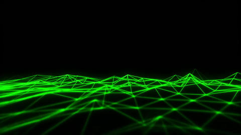 3D Green Wireframe Grid Landscape Graphic Element Loopable Animation