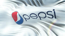 PEPSI flag waving on sun. Seamless loop with highly detailed fabric texture Animation