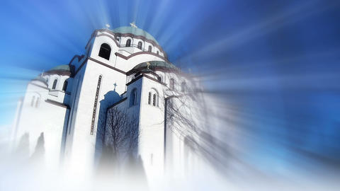 Saint Sava Temple In Belgrade Serbia. Bursting Blurring Light Rays GIF