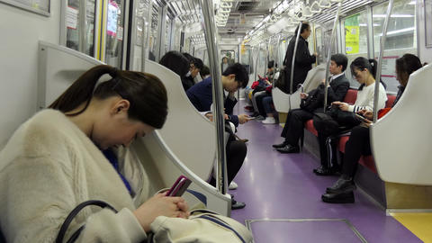 Commuters And People Traveling On Subway Train In Tokyo Japan 영상물