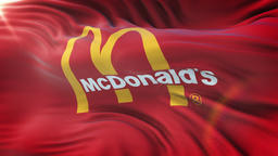 MCDONALDS flag waving on sun. Seamless loop with highly detailed fabric texture Animation