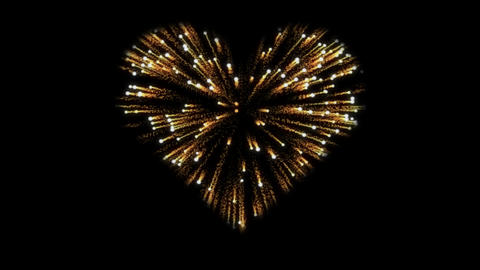Realistic gold fireworks in the shape of a hearts. Alpha channel Animation