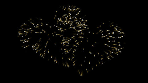 Two gold fireworks in the shape of a hearts. Alpha channel. Festive effect Animation