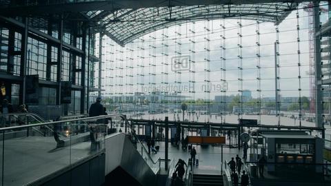 BERLIN, GERMANY - MAY 1, 2018. Hauptbahnhof or Main railway station glass facade Footage