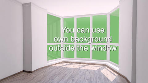 Bay window in empty room with view outside for using any background. Alpha Live Action