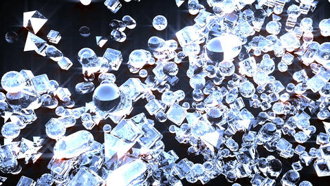 Ice abstract geometric figures flying in slow motion Animation