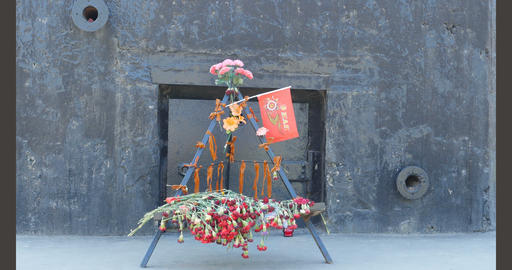 Flowers to the soldiers of the defenders of Leningrad Footage