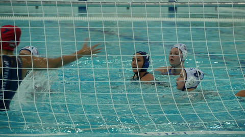 Water polo women, goal ball into the net Footage