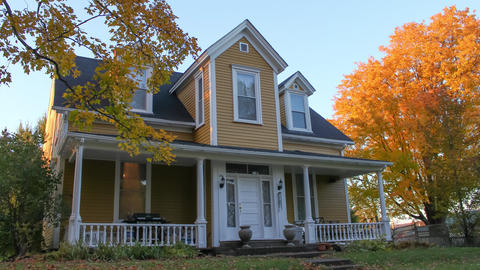 Presbyterian Manse Architectural Style- 19th century- Fall Foliage Footage