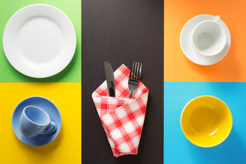 kitchenware at colorful background Photo