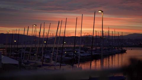 Sunset over marina GIF