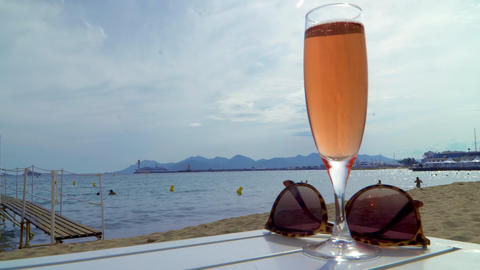 Champagne on beach Footage