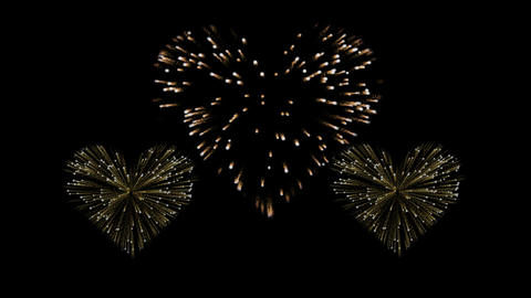 Three gold and red fireworks in the shape of a hearts. Alpha channel. Way to say Animation