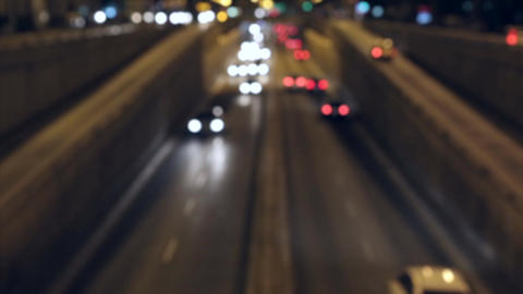 Blurred night traffic scene in Barcelona. Time Lapse Live Action