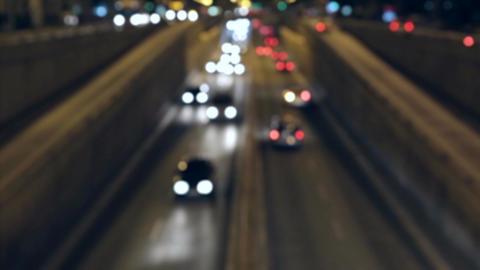 Blurred night traffic scene in Barcelona Live Action