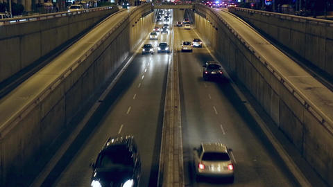 Night traffic scene in Barcelona.Time Lapse Live Action