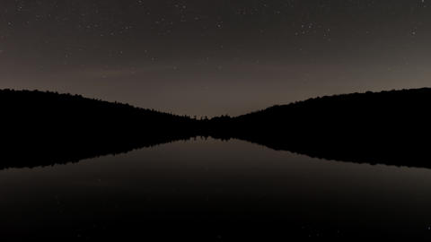 Timelapse - Star in the starry sky and glassy surface of water 영상물
