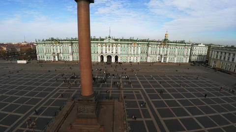 Aerial view. Palace Square, the Hermitage in St. Petersburg. 4K Footage