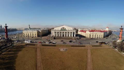 Aerial view. Stock exchange building in St. Petersburg. Rostral columns. 4K Footage