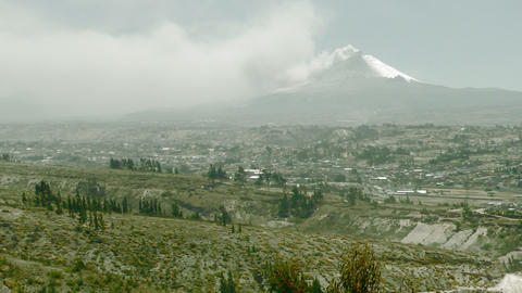 latacunga city and cotopaxi volcano Footage