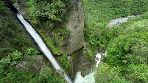 Pailon del Diablo waterfall wide angle Footage
