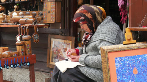 SAFRANBOLU, TURKEY - MAY 2015: handmade ornament maker Footage