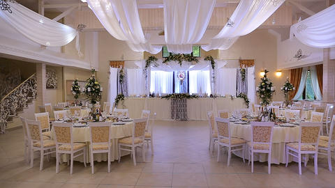Interior of a wedding hall decoration ready for guests. Beautiful room for Footage