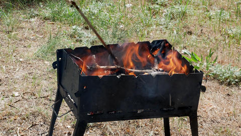 brazier barbecue grill in forest 4k Stock Video Footage
