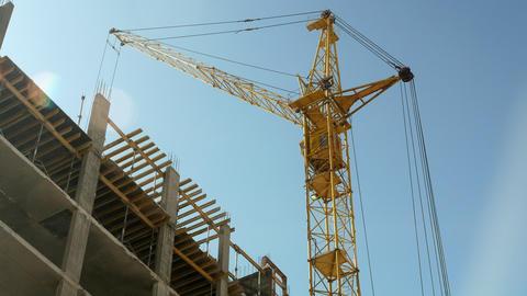 Construction crane working tower building 4k 영상물