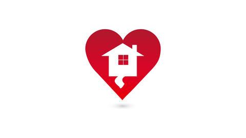 Valentine heart house home, video animation 影片素材