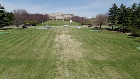 Ungraded aerial of lawn approaching the Nelson-Atkins Museum from the west side Footage
