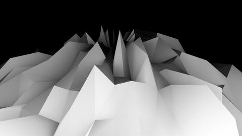 Digital lowpoly landscape. Abstract computer generating background. 3d rendering Footage