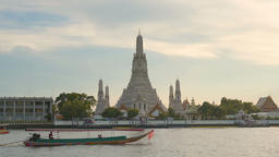 Wat Arun Temple at sunset in bangkok Thailand. Wat Arun is a Buddhist temple in Footage