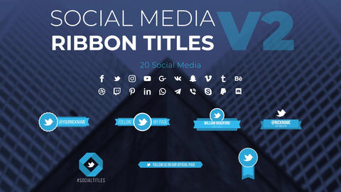 Social Media Ribbon Titles v2 Motion Graphics Template