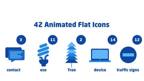 42 Animated Flat Icons After Effects Template