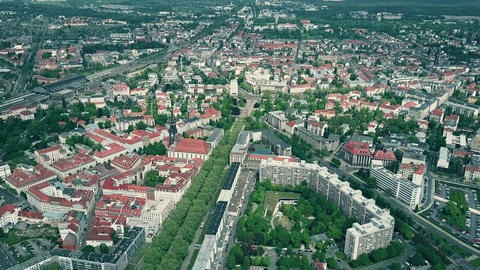 High altitude aerial view of Dresden and suburbs, Germany Footage