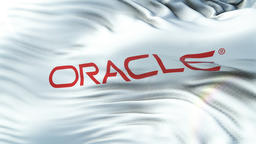 ORACLE flag waving on sun. Seamless loop with highly detailed fabric texture Animation