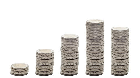 Five stacks of coins increasing - Stop Motion Footage