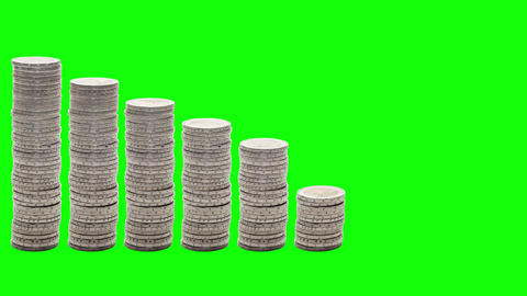 Nine stacks of coins decreasing. Stop Motion. Chroma Key Footage