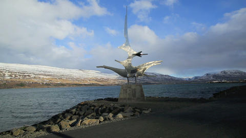 Time lapse of a sculpture at the harbour of Akureyri, Iceland Footage