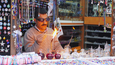 SAFRANBOLU, TURKEY - MAY 2015: Glass blowing man working Footage